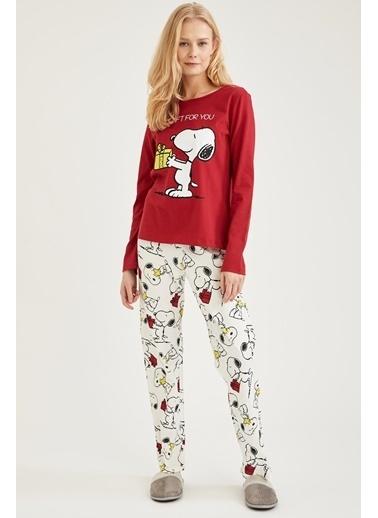 DeFacto Snoopy Lisanslı Pijama Takımı Ekru
